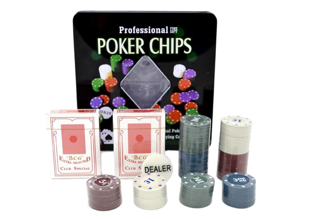 Professionelle Poker Chips 100 Chips 2 Decks Spielkarten Casino Game Set Shine Umrella Ltd
