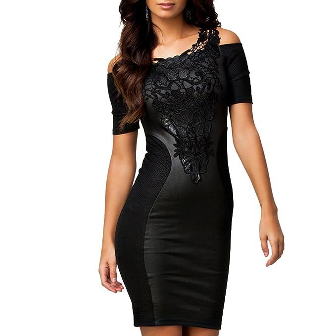 b12a851b2573 ABILIO - vestito donna tubino nero elegante pizzo party abito vestitino  festa donna NERO M  Amazon.it  Abbigliamento