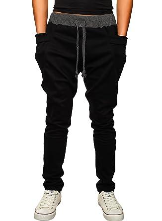 HEMOON Homme Pantalon de Sport Jogging Sarouel Fitness Loose Crotch Pants  Noir M  Amazon.fr  Vêtements et accessoires 643bf2c5871
