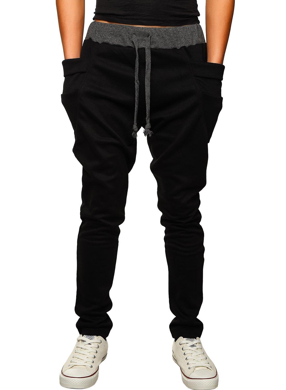 HEMOON Mens Jogging Pants Tracksuit Bottoms Training Running Trousers Black M by HEMOON