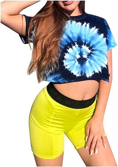 BaZhaHei Blusa Mujer Cuello Redondo Corto Tie-Dye Gradient Camiseta de Manga Corta Camisa Hippie: Amazon.es: Ropa y accesorios