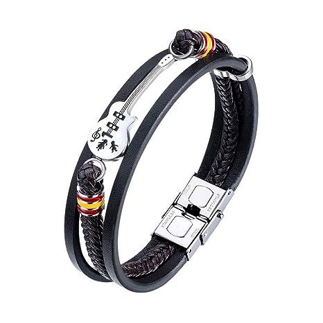 Wrap Bracelet Biker Men Women Muti Layer Braided Guitar Music Punk Jewelry
