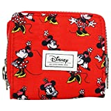 DISNEY Minnie Mouse Cheerful - Mini Wallet - With Zip Lock and Metallic Button - Color Red