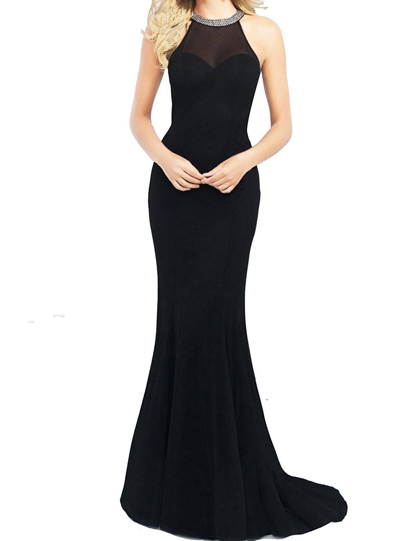 Promstar Women's Elegant Tulle Beaded Halter Long Cockail Prom Evening Dresses