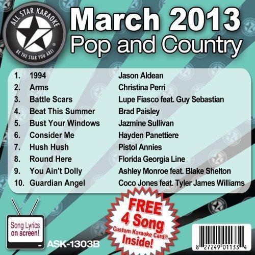 All Star Karaoke March 2013 Pop and Country Hits B (ASK-1303B) by Jason Aldean, Christina Perri, Lupe Fiasco feat. Guy Sebastian, Brad Paisley, Ja [2013]