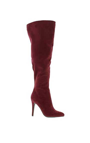 b2cf9a4a623 Women s Sexy Pointed Toe Over The Knee Thigh High Faux Suede High Heel  Stiletto Boots