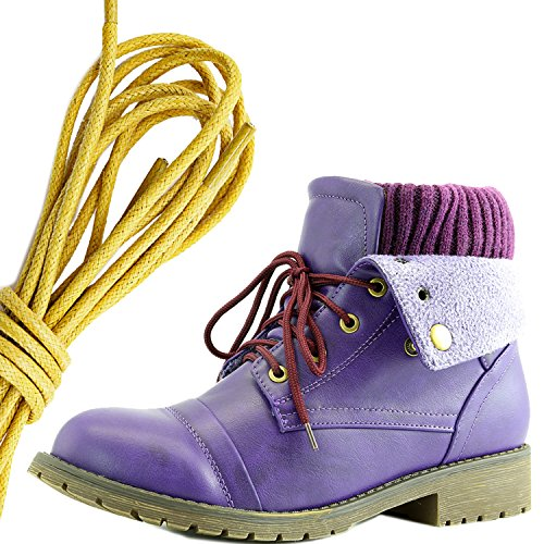 DailyShoes Womens Combat Style Lace Up Sweater Top Ankle Bootie With Pocket for Credit Card Knife Money Wallet Pocket Boots, Yellow Purple Pu