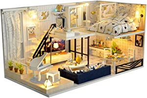 TuKIIE DIY Miniature Dollhouse Kit Wooden Doll House Accessories with Furniture Set Plus Dust Proof Model House Assembled Cabin Handcrafts Educational Toys for Birthday Gift Children Kid Teens Adults