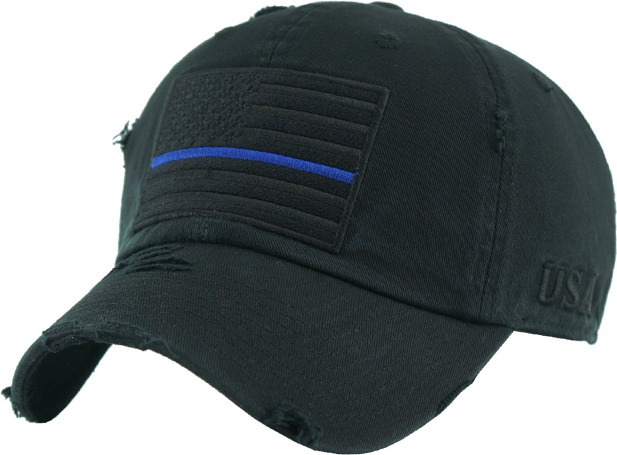 KBVT-209 BLK (Blue LINE) Tactical Operator with USA Flag Patch US Army Military Baseball Cap Adjustable