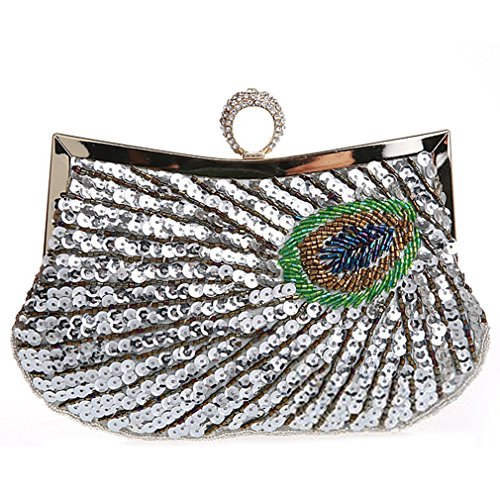 Beaded Ring Evening Silver Peacock Bags Belsen Wedding Sequin Women's Feathers qAxEZEI