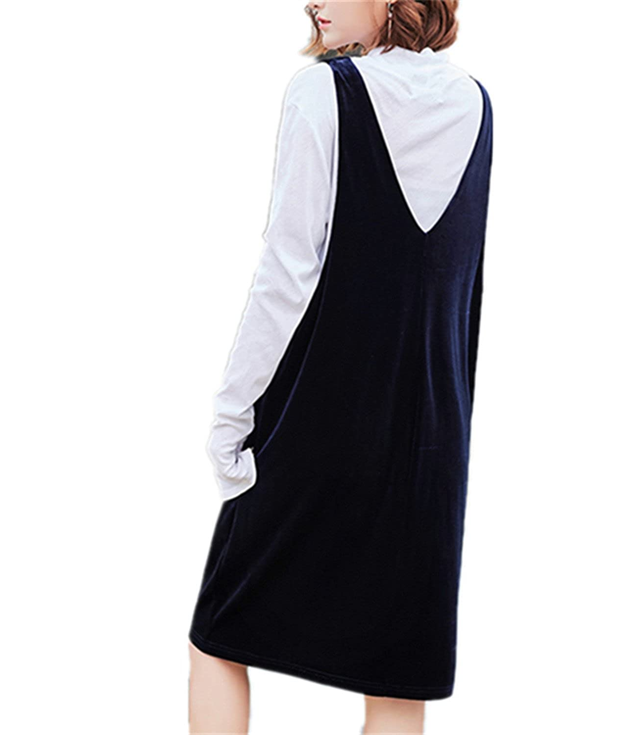 SDHEIJKY women solid color sleeveless suspenders v-neck hollow out A-line dress at Amazon Womens Clothing store: