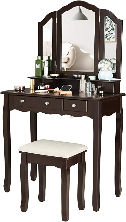 Vanity Table With Wooden Tri Folding Mirror Dressing Table With Stool Set 5 Drawers Table With Cushioned Stool Brown Vanities Vanity Benches Home Kitchen