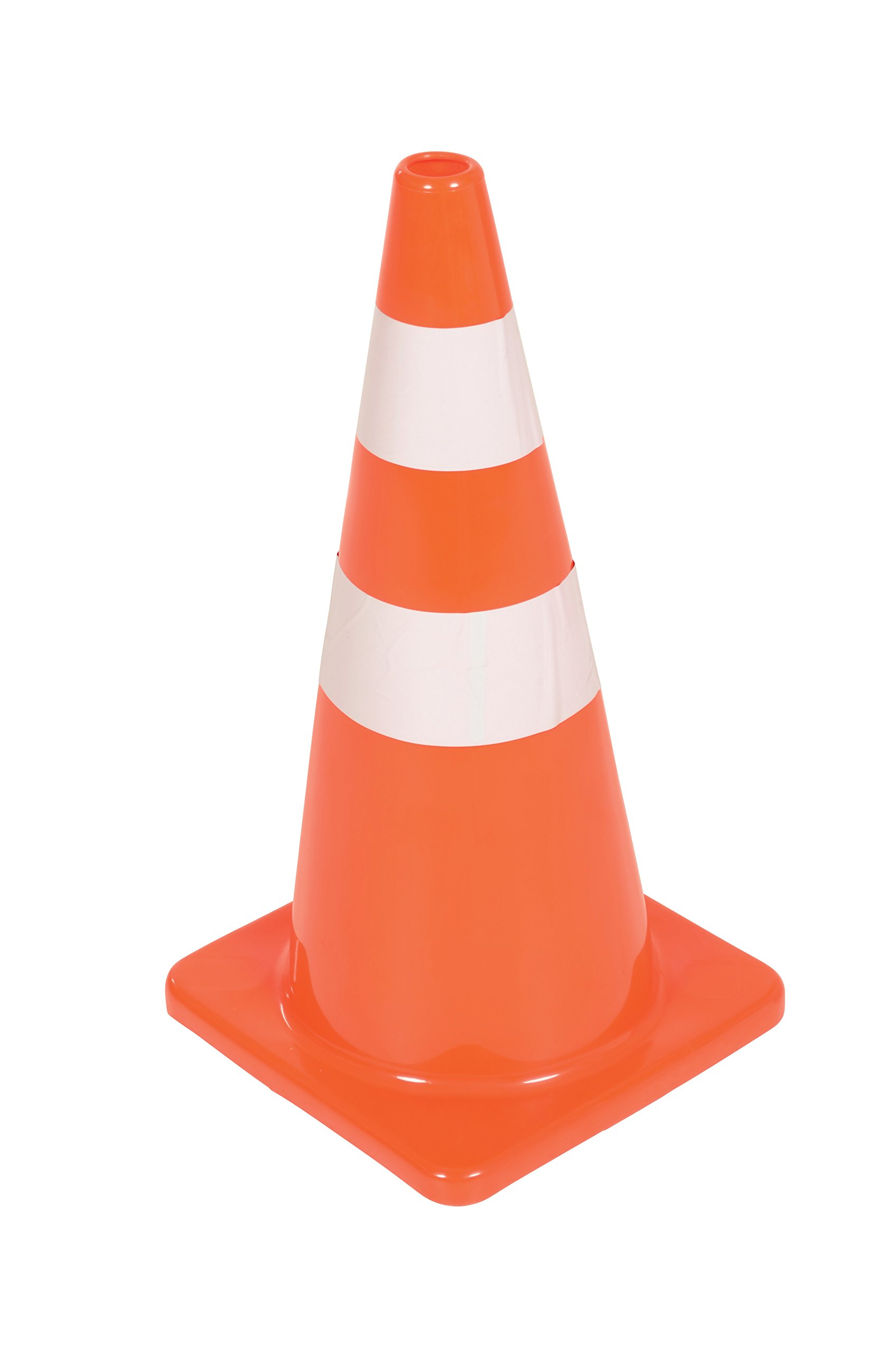 Vestil TC-28-SD-2R Polyvinyl Chloride Standard Duty Traffic Cone, 2 Reflector Stripes, 27-1/2'' x 14'' x 14'', Orange by Vestil