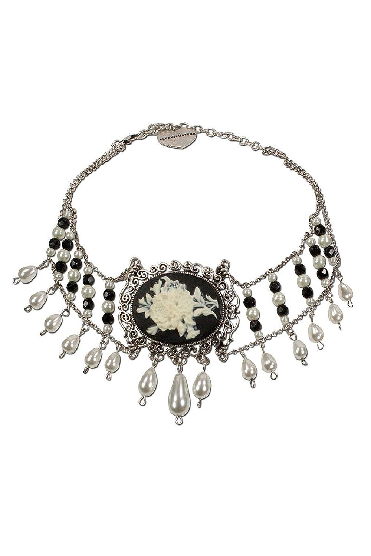 Damen Alpenflüstern Trachten Perlen-Kropfkette Blütengemme schwarz, apricot, unisize