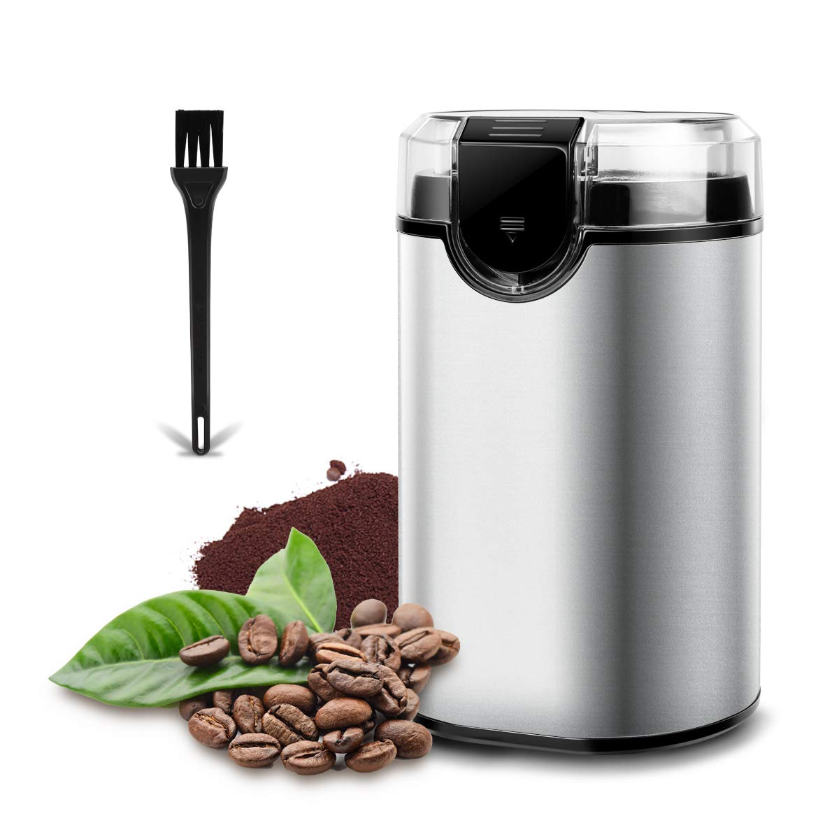 Electric Coffee Grinder, Multifunctional Spice Grinderwith Stainless Steel Blade Large Grinding Capacity Fast Grinding Coffee Beans, Nuts, Grains, Spices (Silver)