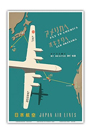 Fly to America and Okinawa by Deluxe DC-6B - Japan Airlines - Route Map -  Vintage Airline Travel Poster - Master Art Print - 13in x 19in