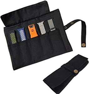 YOOSIDE Watch Band Accessories,Smart Watch Band Protable Storage Bag Case Pouch Organizer-Compatible with Apple Watchbands, Garmin Watch Band, Samsung Watch Band etc -Cotton Canvas