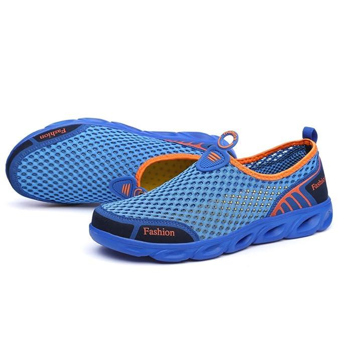 snfgoij Unisex Mesh Wanderschuhe Slip on Water Schuhe Atmungsaktives Mesh-Tuch Schnell Trocknend Bergsteigen Trekking,Darkblue-44