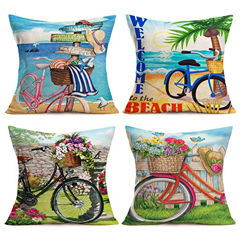 Asamour Summer Beach Sweet Garden Bicycle Throw Pillow Case Floral Plants Birds Coconut Tree Marine Animal Decorative Cotton Linen Cushion Covers 18''x18'' Square Outdoor Decor Pillow Covers,Set of 4 (Pillow Coconut)