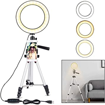 A/&Dan Mobile Phone Tripod 7.9-Inch Dimmable LED Ring Light Fill Light Extended Floor-Standing Outdoor Portable Video for YouTube Video and Makeup