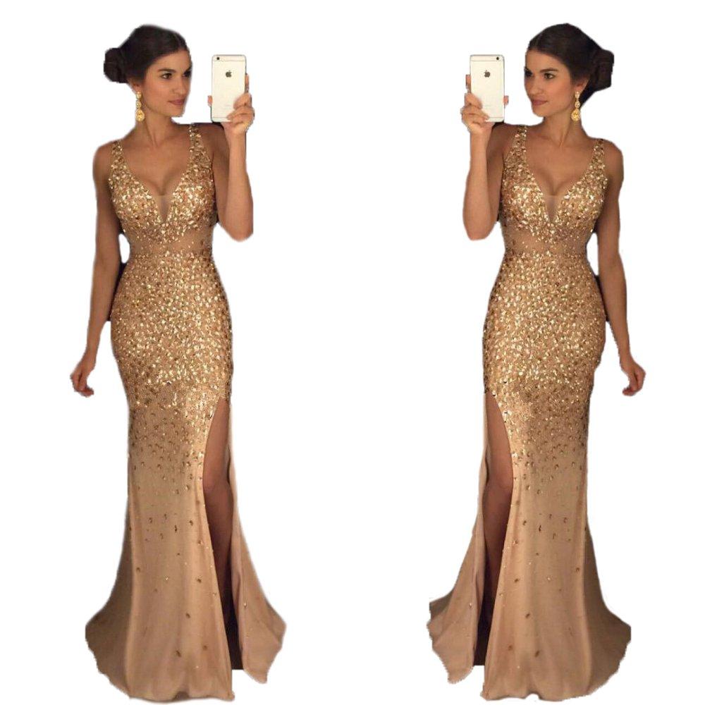 Champagne&style1 Ellenhouse Women's Long VNeck Beaded Split Side Evening Prom Party Dress EL290