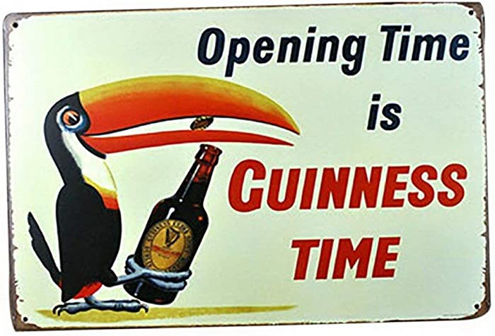 """Mega-deal Toucan Bird Opening Time is Guinness Time Vintage Bar Sign Wall Decor 12"""" x 8"""""""