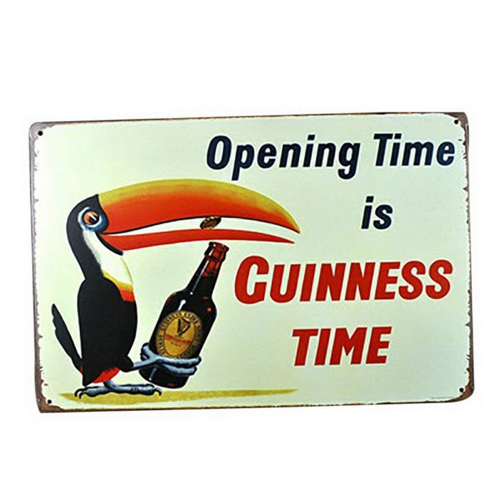 Mega-deal Toucan Bird Opening Time is Guinness Time Vintage Bar Sign Wall Decor 12 x 8