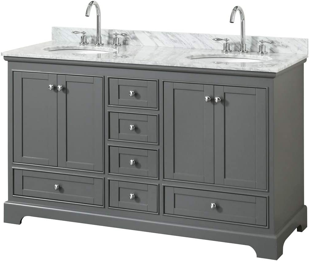 Undermount Oval Sinks Wyndham Collection Deborah 60 Inch Double Bathroom Vanity in Dark Gray White Carrara Marble Countertop and No Mirrors
