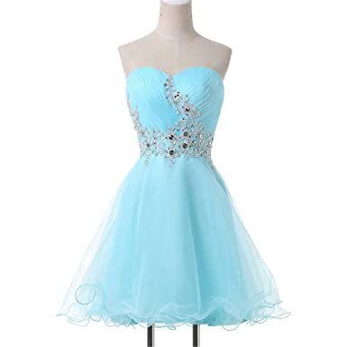 AUUOCC Mini Lace Short Cocktail Dresses Cute Light Blue Sexy Sweetheart Voile Satin Cocktail Prom Gowns Dress 2018 at Amazon Womens Clothing store: