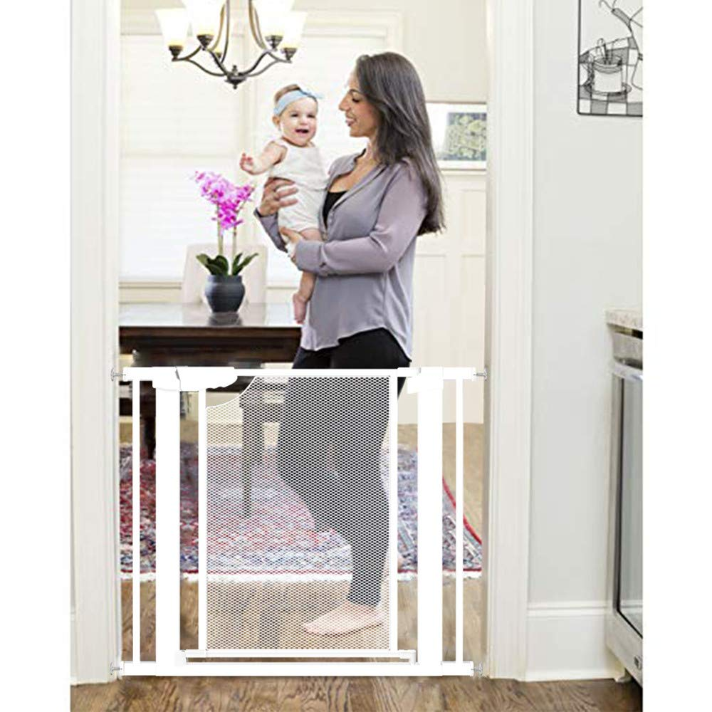 Heele New Design Gate Auto Close Safety Baby Gate,Extra Tall and Wide Child Gate,Extra Wide 29.52''~35.03''Easy Walk Thru Durability Pet Gate,Doorways.Baby Safety Gates