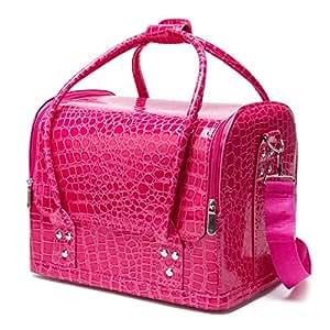 Topwigy Cosmetic Box 3 Layers PU Waterproof Professional Rose Red Big Capacity Crocodile Pattern Handing Cosmetic Case Makeup Kit Cosmetic Shoulder Bag Beauty Case
