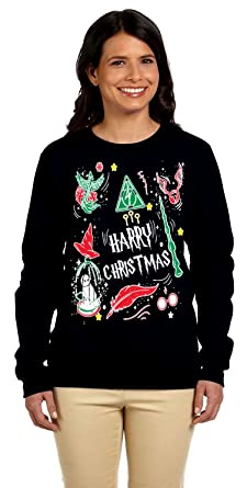1299 prime tees womens harry christmas potter ugly christmas sweater small black - Harry Potter Ugly Christmas Sweater