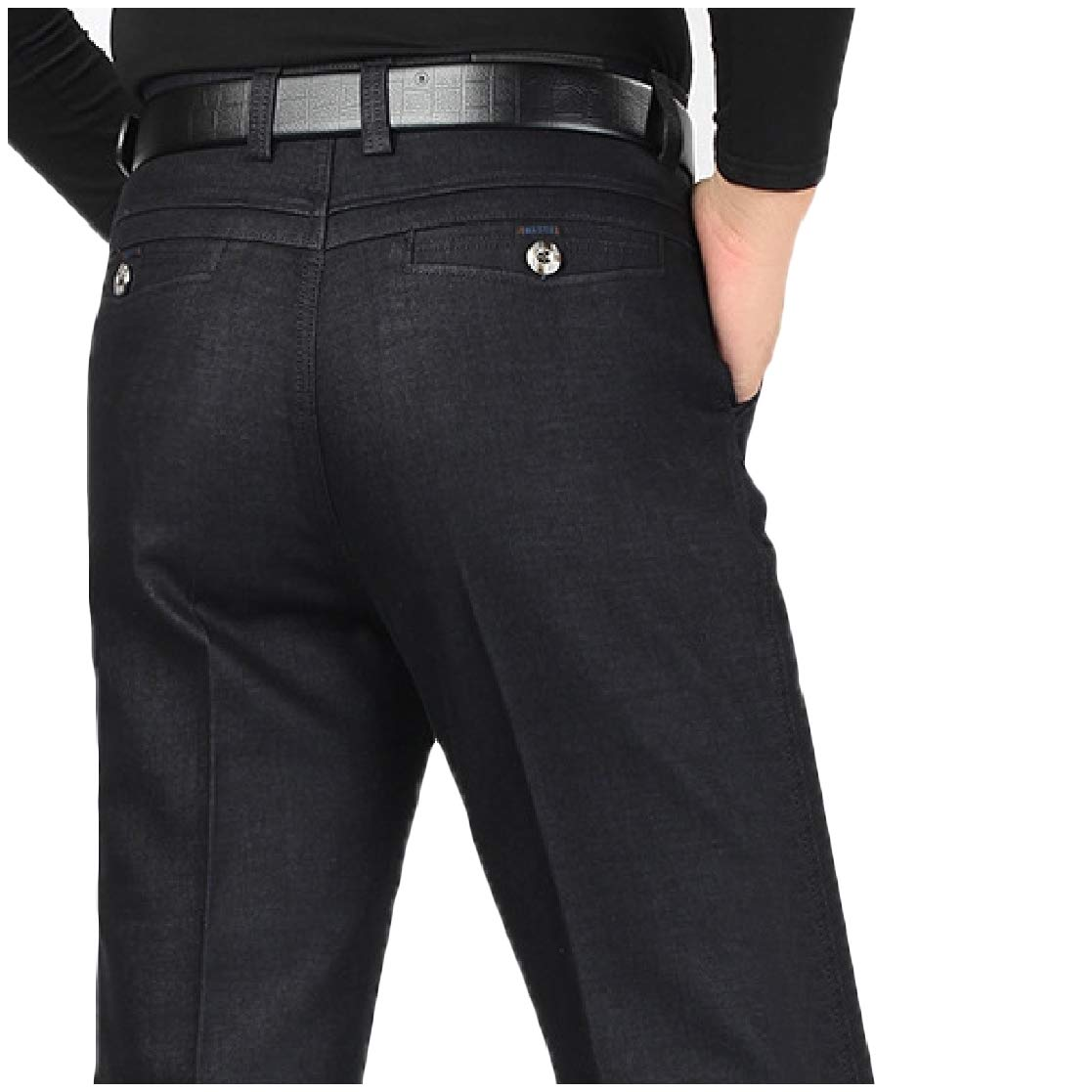 YUNY Mens Straight High Waisted Fall /& Winter Fit Hi-Waist Casual Pants AS7 33