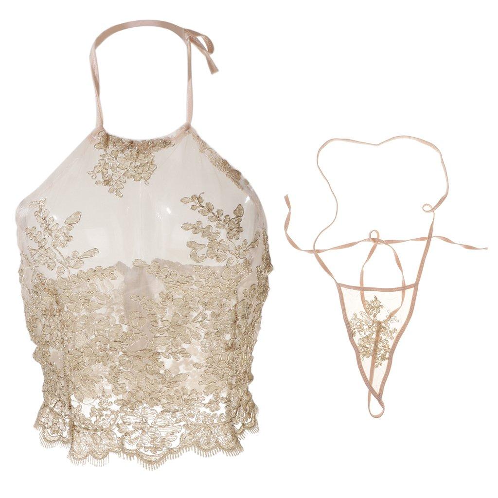 Amazon.com  Homyl Gold Sheer Lace Mesh Lingerie Set Halter Bralette    String Thong Underwear for Women  Clothing