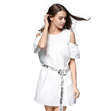 b2c0748c29 Anna.W Women s White Cotton Summer Off Shoulder Casual Cute Loose ...