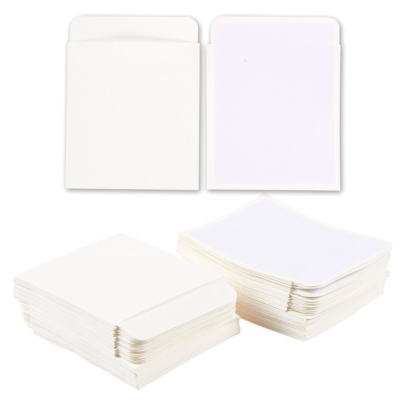 100-Count Library Card Pockets - Self Adhesive Book Pockets, Library Card Holders, White, 3.5 x 4.5 Inches