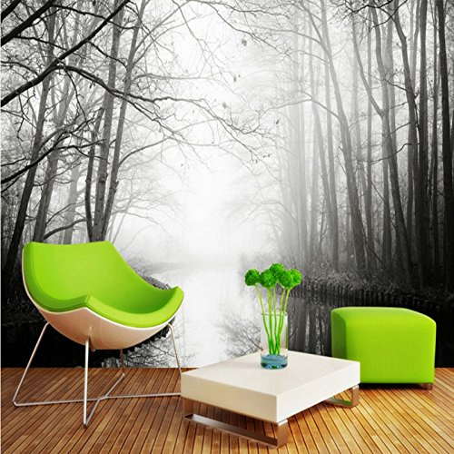 LHDLily Art Forest Tv Wall Mural Bathroom Bedroom Home Decoration Wallpaper Mural Living Room Coffee House 300cmX200cm by LHDLily