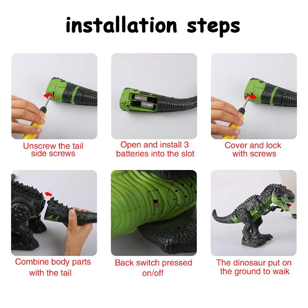 ERollDeep Dinosaur Toys, Electronic Dinosaur Toys Walking Dinosaur with Flashing & Sounds for Boys (Large) by ERollDeep (Image #4)