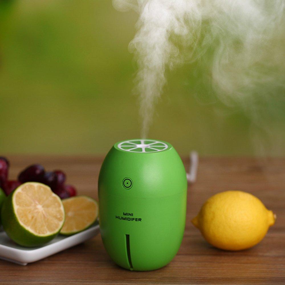 Dealetech Mini Lemon Humidifier Night Light Lemon Air Purifier Portable USB 180ML Ultrasonic Cool Mist Maker Auto Shut-off Steam Diffuser for Yoga Spa Baby Office Home Car (green)