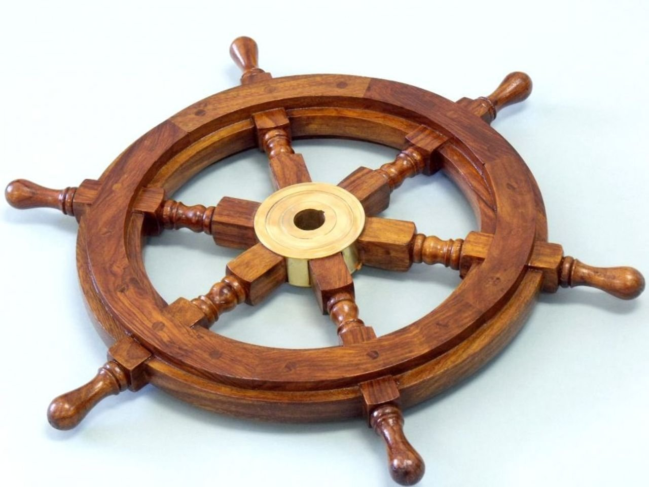 Amazon hampton nautical deluxe class wood and brass amazon hampton nautical deluxe class wood and brass decorative ship wheel 15 nautical home decoration gifts home kitchen amipublicfo Images
