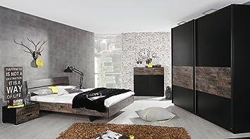 Schlafzimmer in schwarz/Vintage-Optik braun, Schwebetürenschrank 225 ...