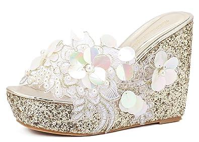 7b06d37e41b9 IDIFU Women s Comfy Flowers High Heels Wedge Platform Summer Slippers  Sandals (Gold