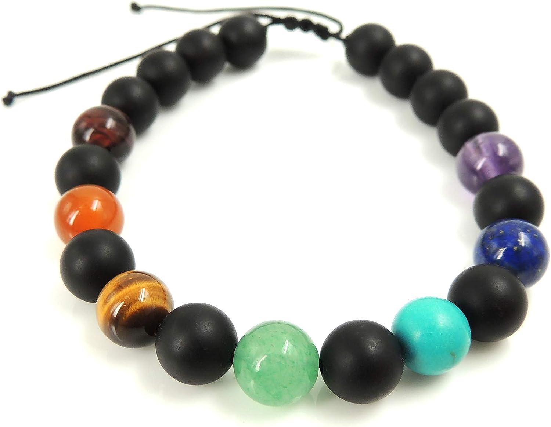 Siete chakras, 8mm piedras preciosas curativas naturales para la meditación, Pulsera ajustable hecha a mano, Alineación de energía, Amatista, Lapislázuli, Turquesa, Malaquita, Cornalina, Ojo de tigre