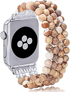 KAI Top Compatible for Apple Watch Band 38mm 40mm, Natural Stone Beaded Band for Women Girls,Elastic Stretch Replacement Band for iWatch Series SE & Series 6 5 4 3 2 1(Paysage Jasper)