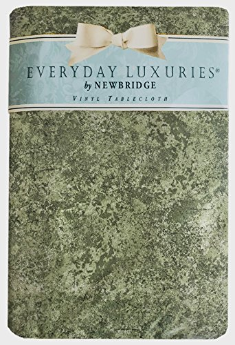 Sage Milano Marble Solid Color Print Heavy Gauge Vinyl Flannel Backed Tablecloth, Indoor/Outdoor Tablecloth for Picnic, Barbeque, Patio and Kitchen Dining, (60 Inch x 120 Inch Oblong/Rectangle)