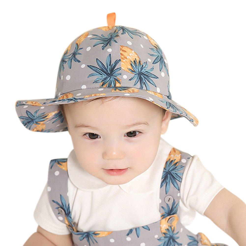 ShiningLove Unisex Kids Cartoon Pineapple Printing Stringy Selvedge Brim Dome Cotton Hat Bucket Hats