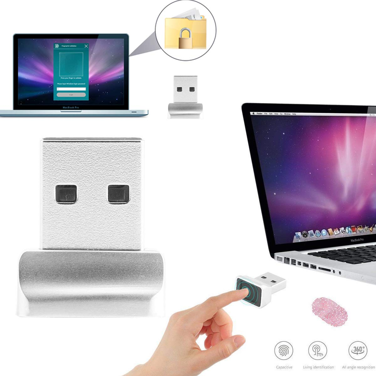 ONEVER Powstro USB Lector de Huellas Digitales, Windows 10 Hello portátil/PC Mini Bloqueo de Seguridad rápida señal en Clave (10PCS): Amazon.es: Electrónica