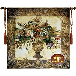 Beautiful Tuscan Urn Floral Fine Tapestry Jacquard Woven Wall Hanging +Matching Cushion Cover Art Decor