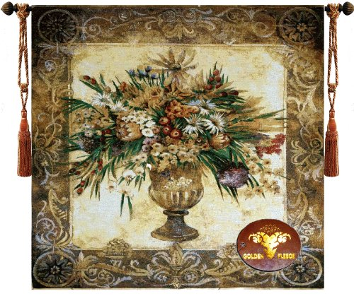 - Beautiful Tuscan Urn Floral Fine Tapestry Jacquard Woven Wall Hanging +Matching Cushion Cover Art Decor