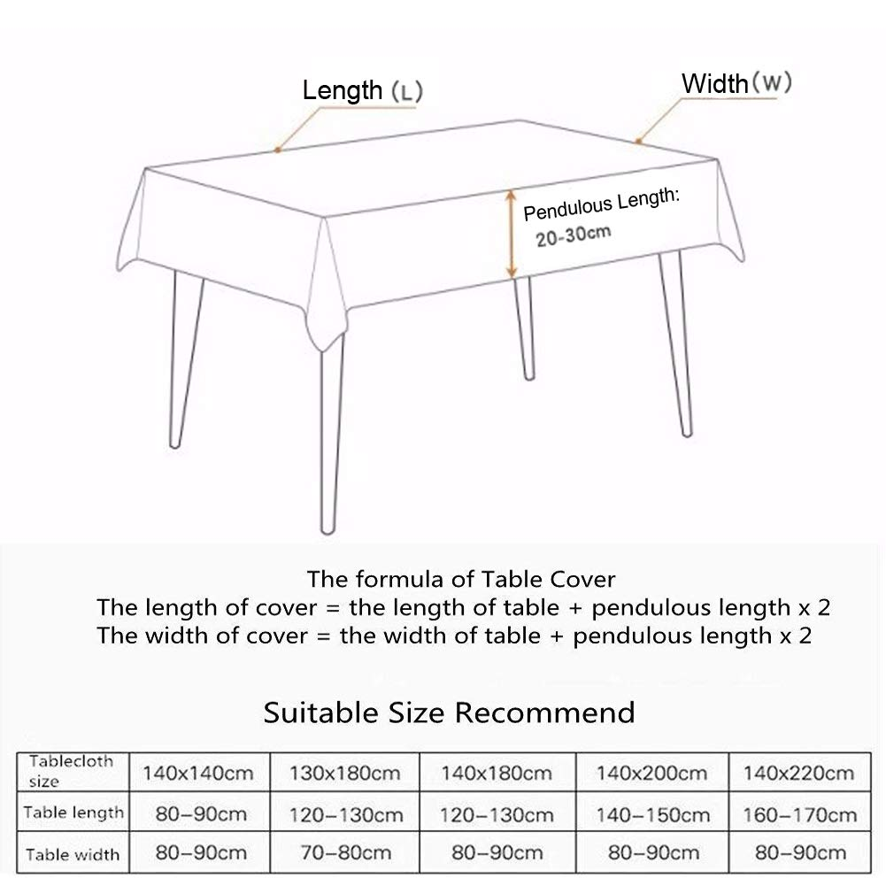 Rectangle//Oblong 55 x 98 inch Amzali Vintage Bohemian Tassel Tablecloth Cotton Linen Fabric Dust-Proof Table Cover Kitchen Picnic Dinning Tabletop Decoration
